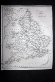 Becker C1850 Antique Map. England and Wales